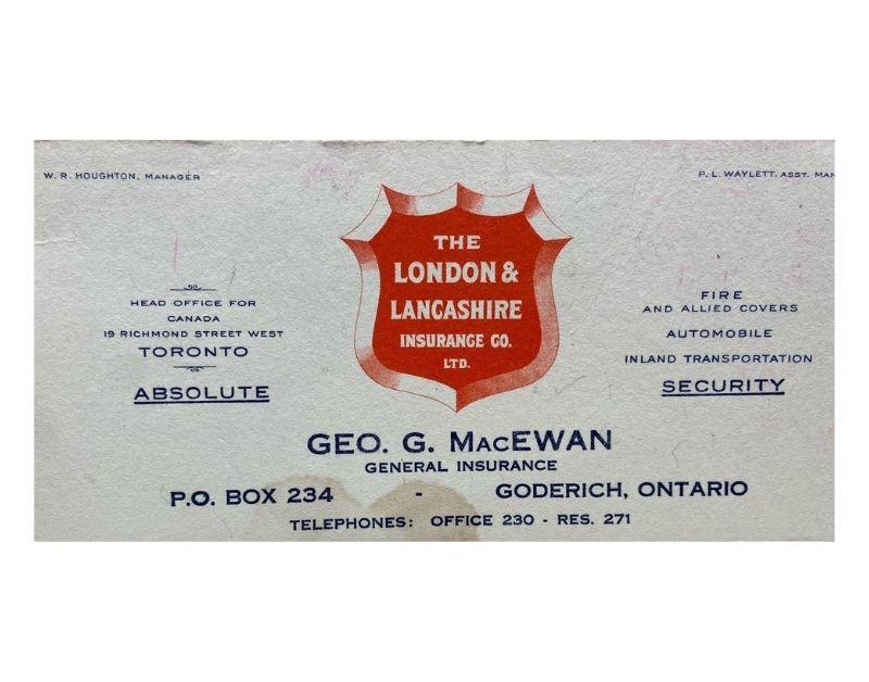 Business Card for George G MacEwan Insurance